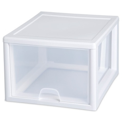 "Sterilite® 16 Quart Stacking Drawer with White Frame - 17"" L x 14-3/8"" W x 6-7/8"" H"
