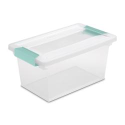 Sterilite ® Medium Clip Box with Aqua Marine Latches - 11