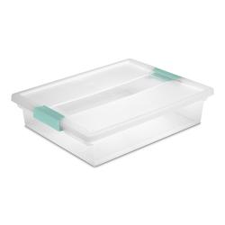 "Sterilite® Large Clip Box with Aqua Marine Latches - 14"" L x 11"" W x 3-1/4"" H"