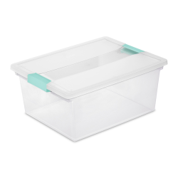 Sterilite ® Deep Clip Box with Aqua Chrome Latches - 14