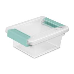 Sterilite ® Mini Clip Box with Aqua Chrome Latches - 6-5/8