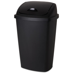 Sterilite ® 13.2 Gallon Black SwingTop Wastebasket - 17-1/4