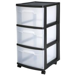 Sterilite ® 3 Drawer Cart with Black Frame - 14-1/2