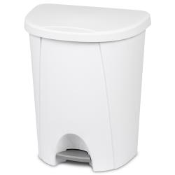 Sterilite ® 6.6 Gallon White Step-On Wastebasket