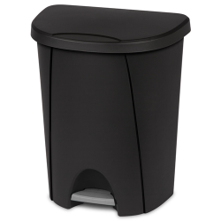 Sterilite ® 6.6 Gallon Black Step-On Wastebasket
