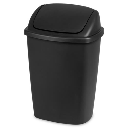 Sterilite ® 7.5 Gallon Black SwingTop Wastebasket