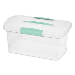 Sterilite ® Medium Nesting ShowOffs™ with Aqua Chrome Handle & Latches