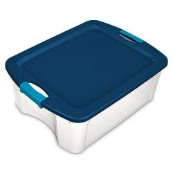 Sterilite ® 12 Gallon Clear Latch & Carry w/True Blue Lid & Aquarium Latches