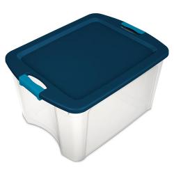 Sterilite ® 18 Gallon Clear Latch & Carry w/True Blue Lid & Aquarium Latches