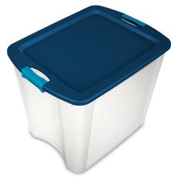 Sterilite ® 26 Gallon Clear Latch & Carry w/True Blue Lid & Aquarium Latches