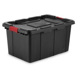 Sterilite ® 27 Gallon Black Industrial Tote with Red Latches - 30-1/2