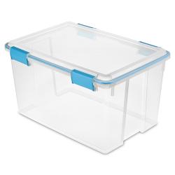 "Sterilite® 54 Quart Clear Gasket Box with Aquarium Latches & Gasket - 22-1/2"" L x 16"" W x 12-3/4"" H"