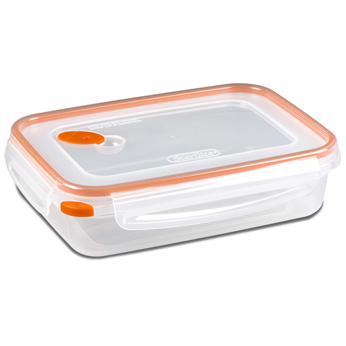 """Sterilite® Ultra•Seal™ 5.8 Cup Rectangle Container w/Tangerine Accents - 9-1/8"""" L x 6-5/8"""" W x 2-1/2"""" H"""