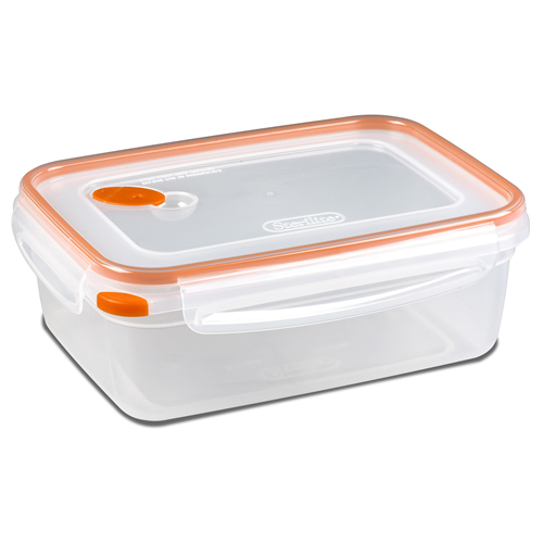 "Sterilite® Ultra•Seal™ 8.3 Cup Rectangle Container w/Tangerine Accents - 9-1/8"" L x 6-5/8"" W x 3-1/2"" H"