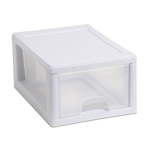 Sterilite® 6 Quart Stacking Drawer with White Frame
