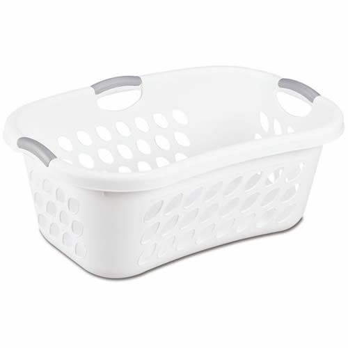 """Sterilite® 1.25 Bushel White Ultra™ HipHold Laundry Basket - 26-3/8"""" L x 18-1/8"""" W x 10"""" H"""