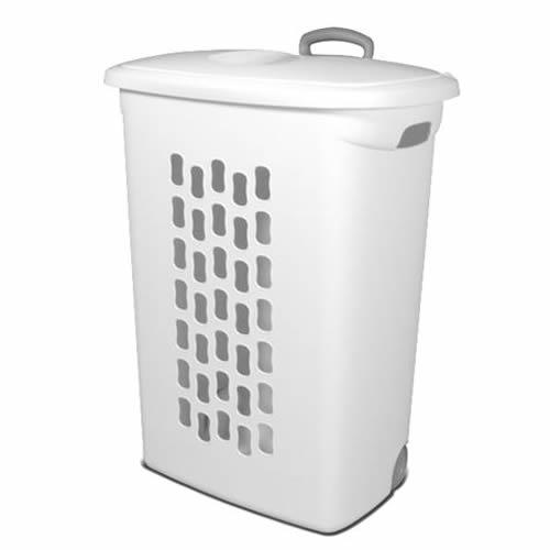 "Sterilite® White Ultra™ Wheeled Hamper - 21"" L x 13-3/4"" W x 28-3/8"" H"