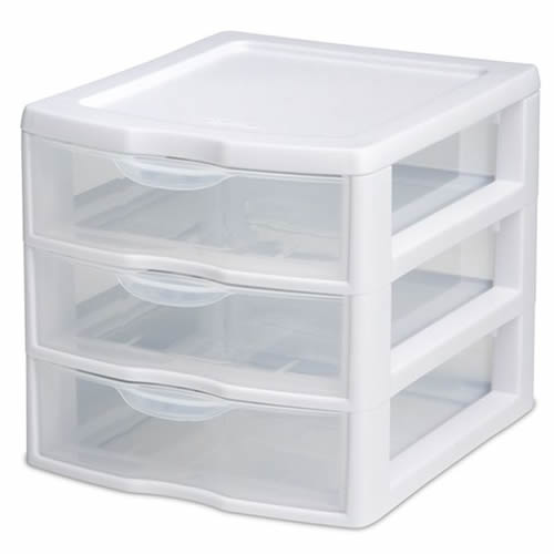 "Sterilite® Small 3 Drawer Unit with White Frame - 8-1/2"" L x 7-1/4"" W x 6-7/8"" H"
