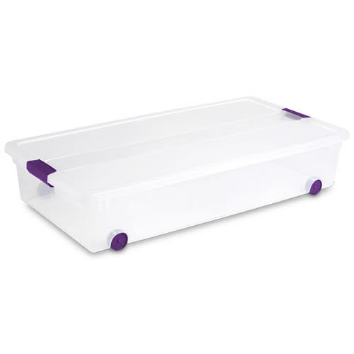 """Sterilite® 60 Quart ClearView Latch™ Wheeled Underbed Box with Sweet Plum Handles - 34-5/8"""" L x 18-3/4"""" W x 7"""" H"""
