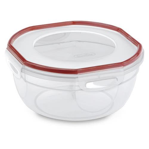 "Sterilite® Ultra•Seal™ 2.5 Quart Bowl w/Rocket Red Accents - 8-1/8"" Dia. x 4"" H"