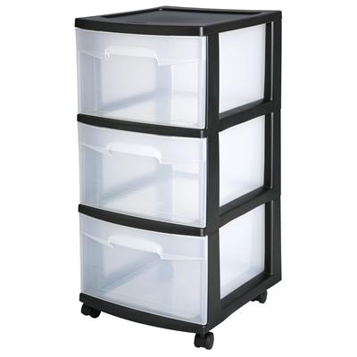 "Sterilite® 3 Drawer Cart with Black Frame - 14-1/2"" L x 12-5/8"" W x 25-5/8"" H"