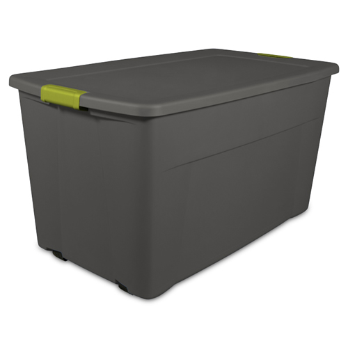 Sterilite® 45 Gallon Gray Wheeled Latch Tote with Fern Latches