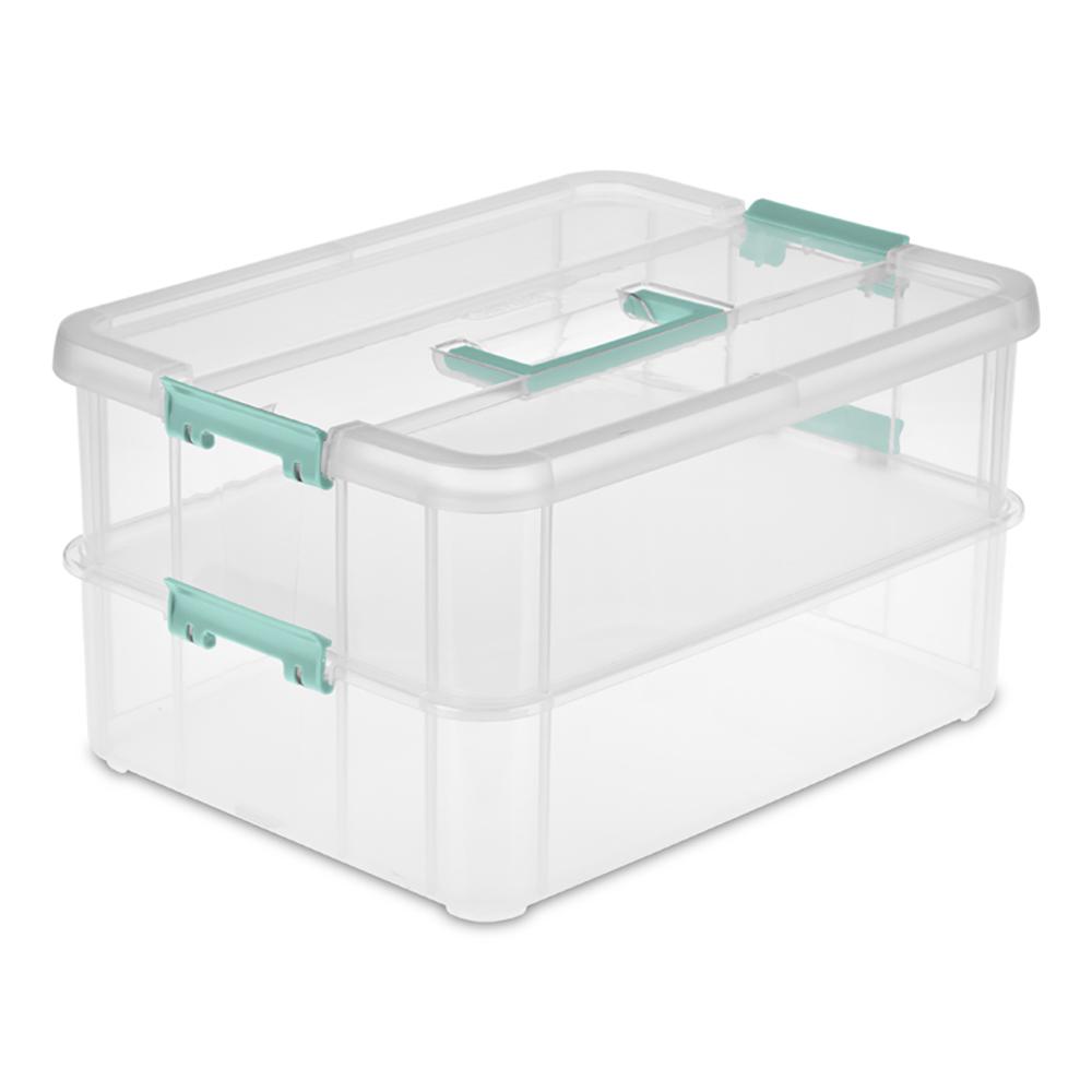 """Sterilite® Stack & Carry 2 Layer Handle Box - 14-3/8"""" L x 10-3/4"""" W x 7-5/8"""" H"""