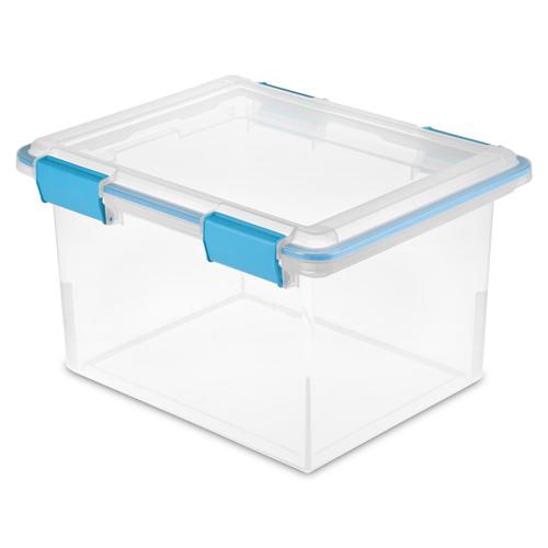 "Sterilite® 32 Quart Clear Gasket Box with Aquarium Latches & Gasket - 18-1/2"" L x 14-7/8"" W x 11-1/8"" H"