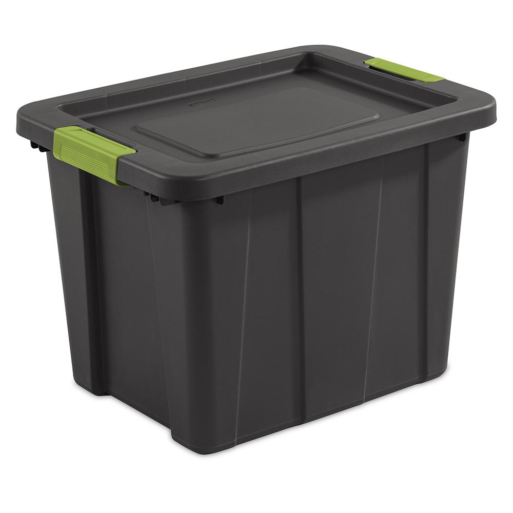 """Sterilite® 18 Gallon Gray Latch Tote with Fern Handles - 23"""" L x 17-1/4"""" W x 16-5/8"""" H"""