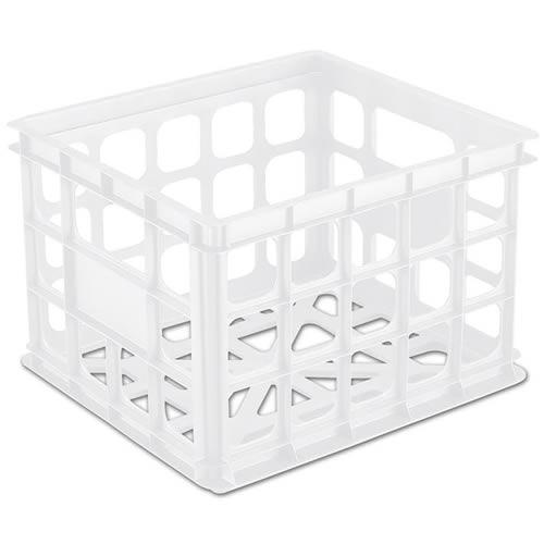 "Sterilite® White Storage Crate - 15-1/4"" L x 13-3/4"" W x 10-1/2"" H"