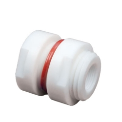 "1/4"" Female NPT PTFE Bulkhead Fitting - 1-3/16"" Hole Size"