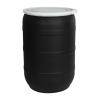 55 Gallon Black Open Head Drum with Plain Lids