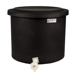10-12 Gallon Black Polyethylene Shallow Tank with Cover & Spigot - 14