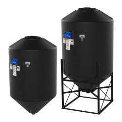 1500 Gallon 15° Cone Bottom, Dome Top Black Tank w/16