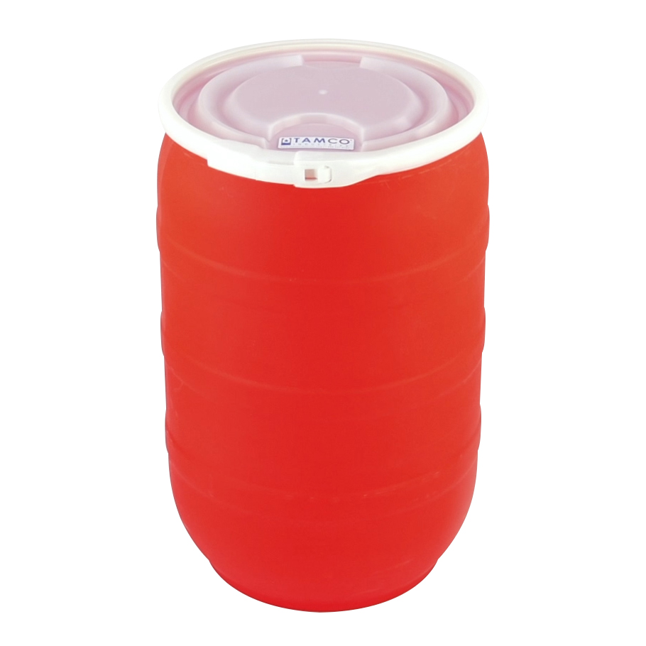 30 Gallon Red Tamco® Open Head Drum with Plain Lids