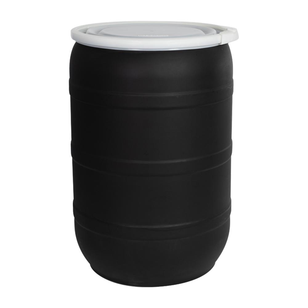 55 Gallon Black Open Head Drum with Plain Lids