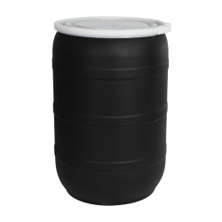 55 Gallon Black Tamco ® Open Head Drum with Threaded Bungs