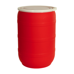 55 Gallon Red Open Head Drum with Plain Lids
