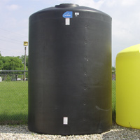 "2000 Gallon Black Vertical Closed Head Tank - 64"" Dia. x 156"" Hgt."