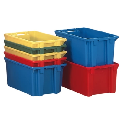 "23""L x 15""W x 8""H Yellow Stack & Nest Container"