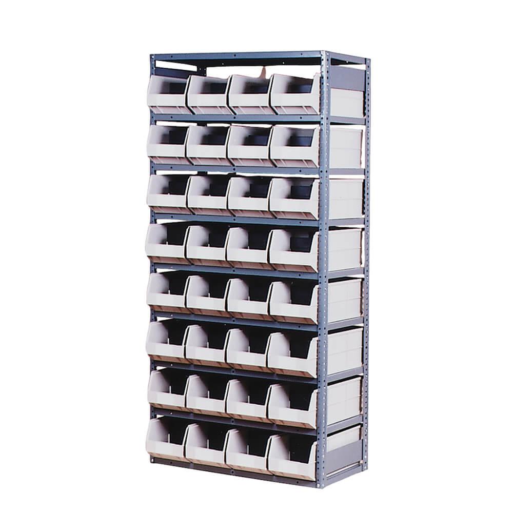 """Gray Storage Rack with 32 Beige Bins 36"""" L x 18"""" W x 75"""" H"""