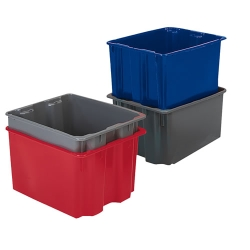 "24""L x 14""W x 8""H Dark Blue Polylewton® Stack-N-Nest® Container"