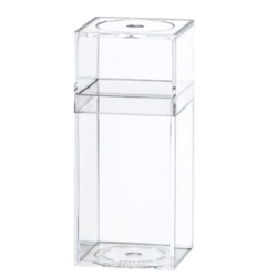 "Clear Plastic Box with Removable Lid 1-7/16"" x 1-7/16"" x 3-5/16"""