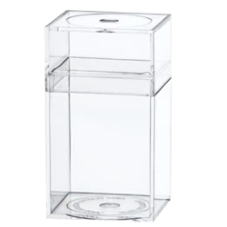 "Clear Plastic Box with Removable Lid 1-5/8"" x 1-5/8"" x 2-7/8"""