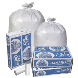 32 Gallon White LDPE Trash Can Liners