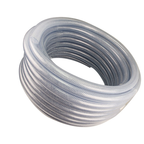"3/16"" ID x .406"" OD Heavy Wall Reinforced Clear PVC Tubing w/Polyester Braid"