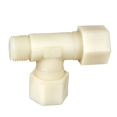 "7/8"" OD Tube x 3/4"" MPT Jaco Polypropylene Tee Tube Fitting"