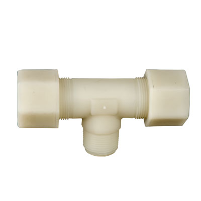 "3/4"" OD Tube x 1/2"" MPT Jaco Polypropylene Tee Tube Fitting"