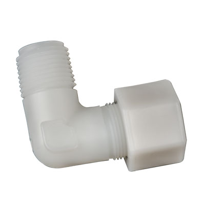 "1/2"" OD Tube x 1/4"" MPT Jaco Polypropylene Elbow Tube Fitting"