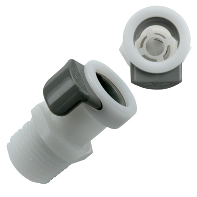 "1/4"" NPT APC Series Acetal Coupling Body - Shutoff (Insert Sold Separately)"